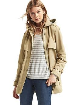 Water-resistant short hooded trench - khaki
