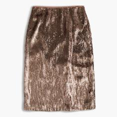 Tall rose-gold sequin skirt
