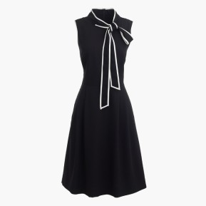 Tall tie-neck dress in Italian wool crepe