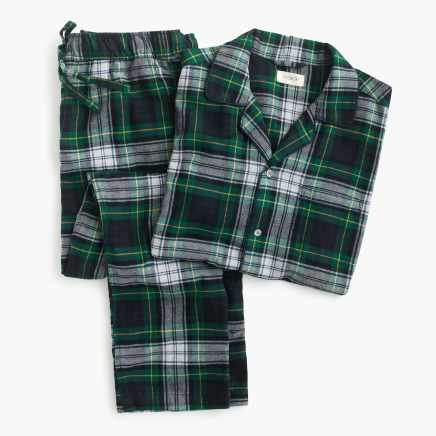 Pajama set in green tartan