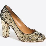 sequin block heel