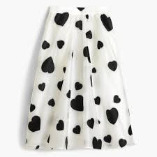 tall organza skirt in heart print