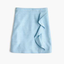 tall ruffle mini skirt in double-serge wool