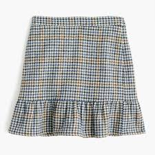 tall ruffle mini skirt in houndstooth