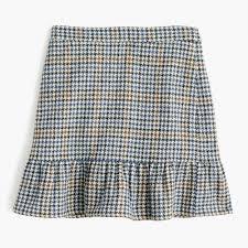 tall ruffle mini skirt in houndstooth