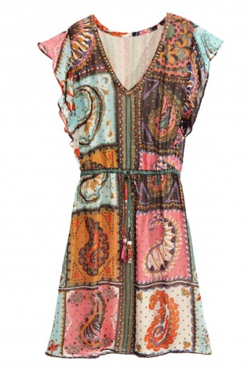 patchwork print dress